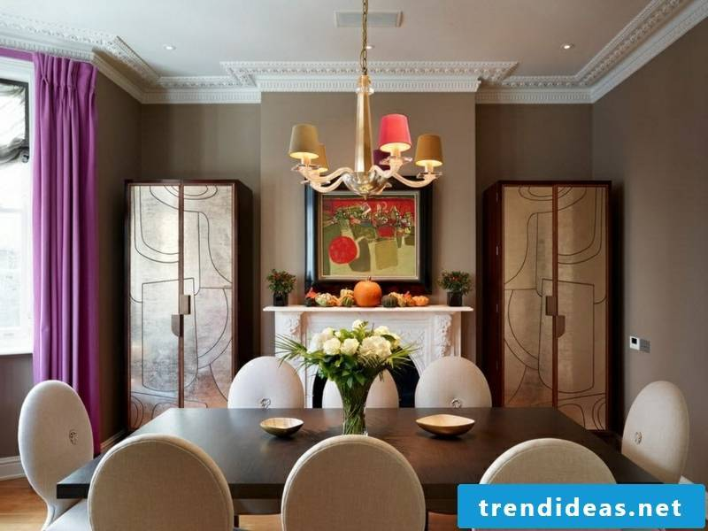 designer purple window curtains in the living room and dining room