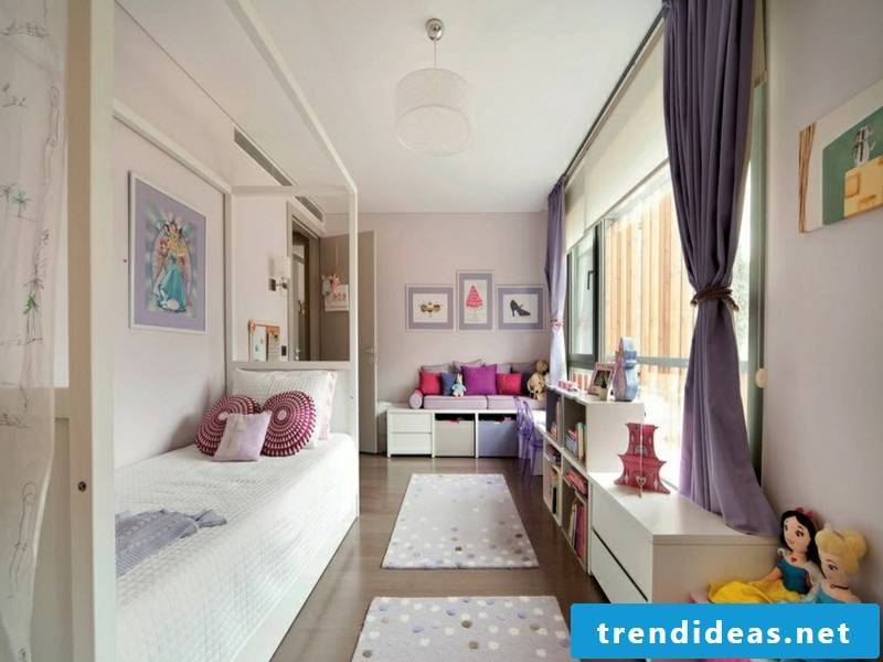 small children's room with window curtains