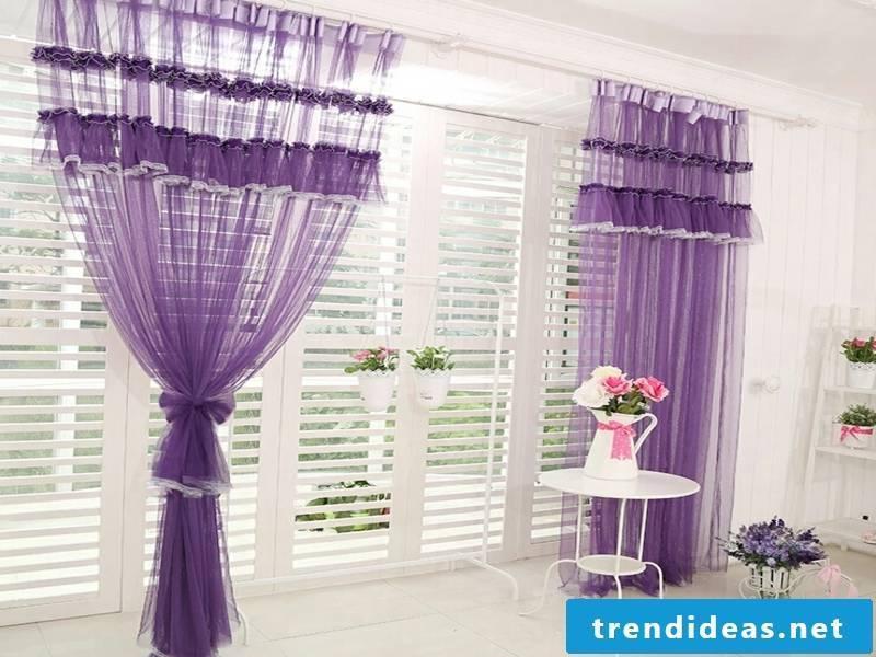 romantic purple window curtains
