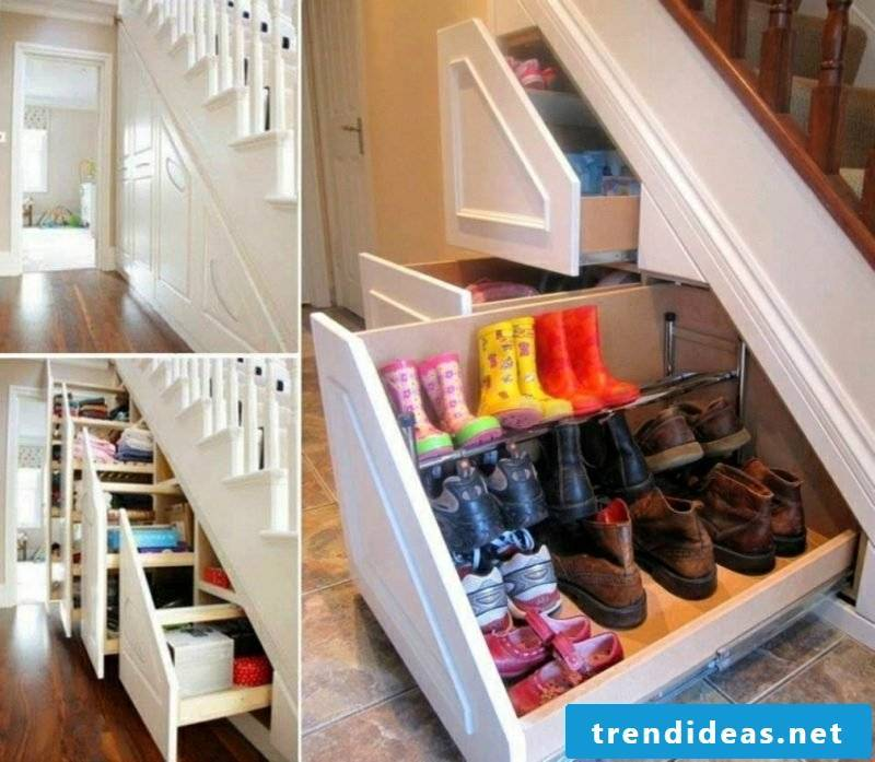 Shoe cabinet installed under stairs
