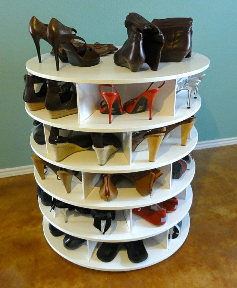 Shoe rack build yourself from wood white rotatable