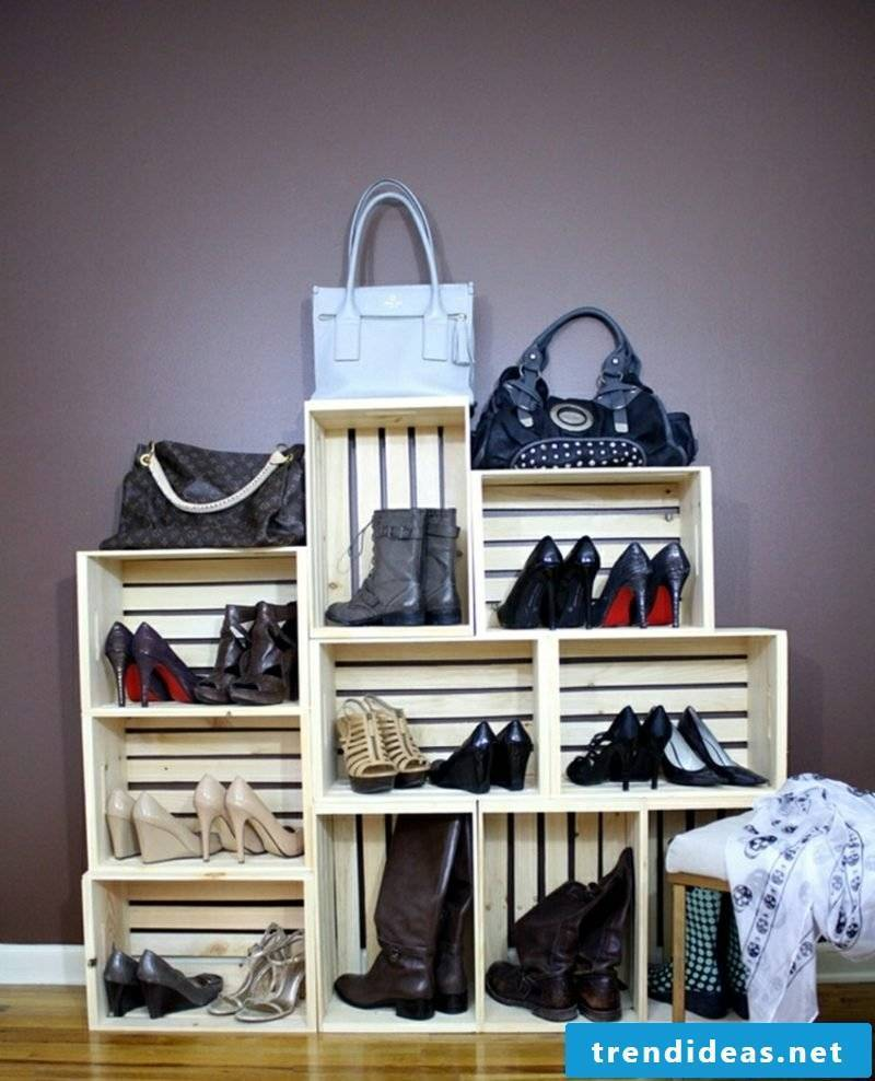 Shoe cabinet itself build from wooden boxes