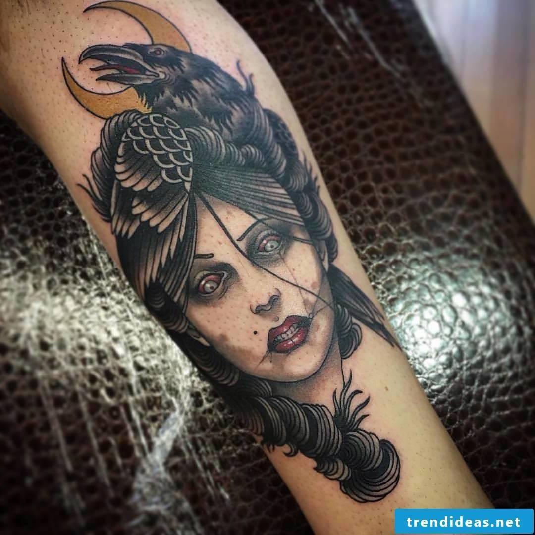 raven tattoo, valkyrie tattoo