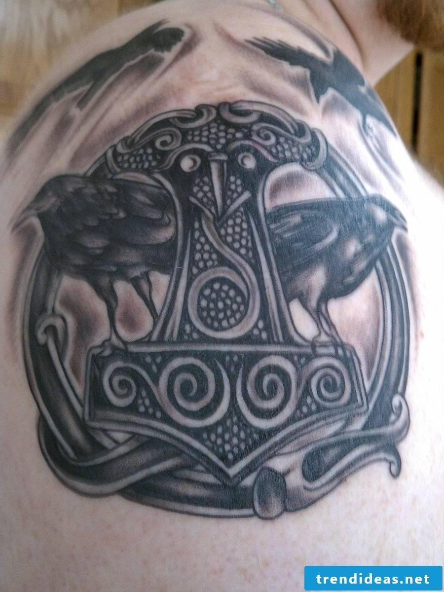 Thorshammer and Huginn and Muninn Tattoo