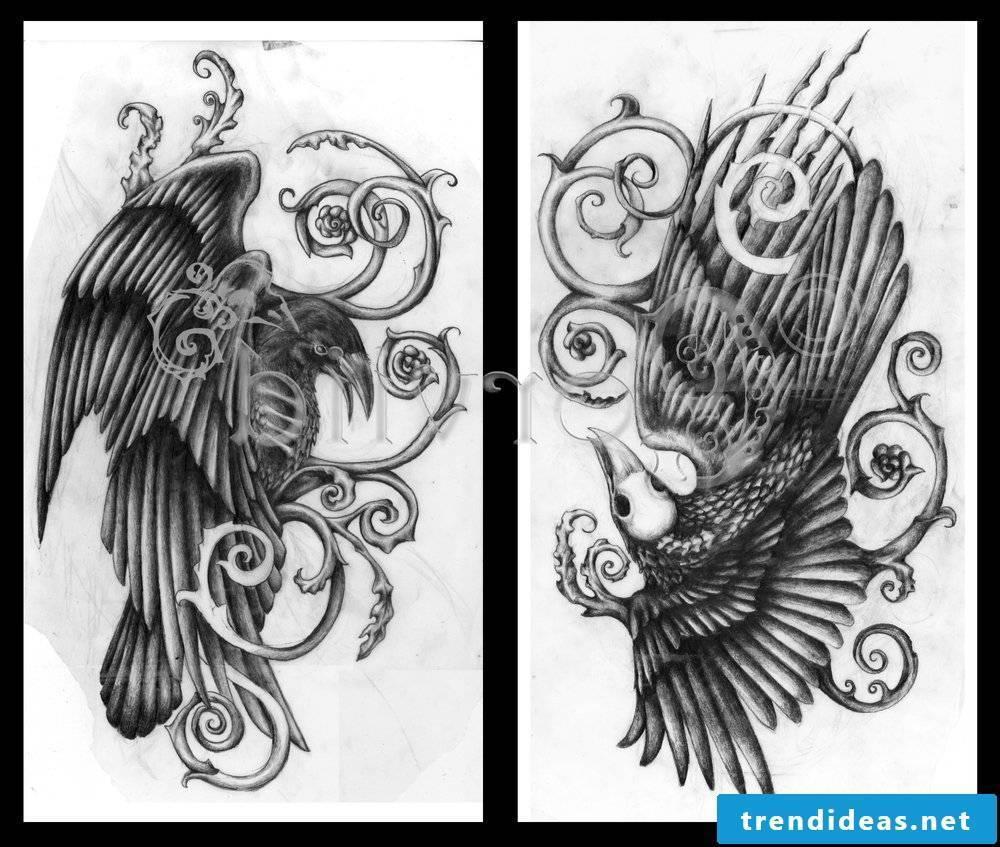 Raven tattoo with watermark