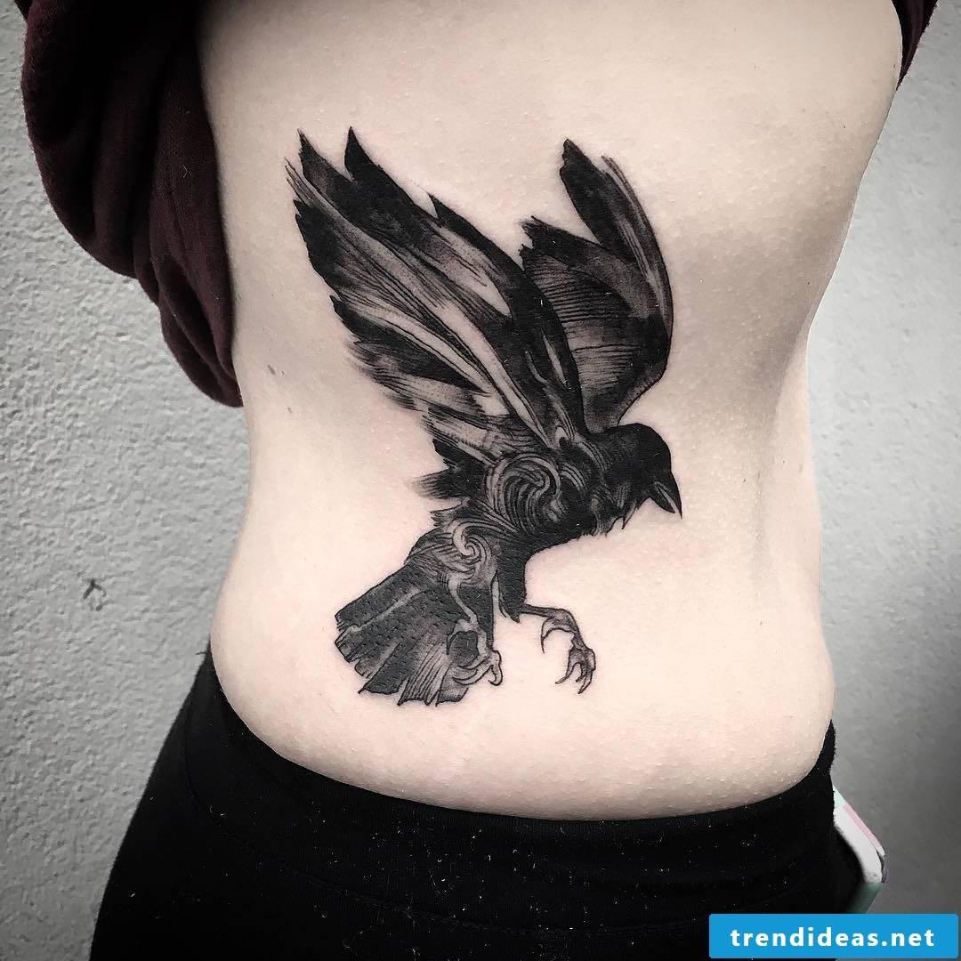 Raven in flight, beautiful nordic tattoo