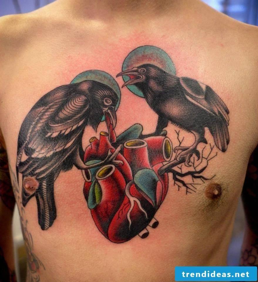 Raven Tattoo, Odin's raven on a heart