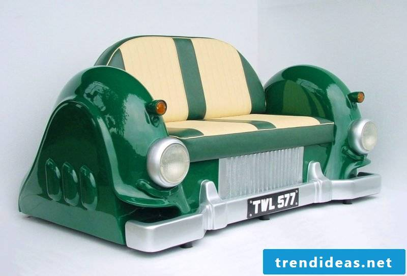 Sofa in green from car parts!