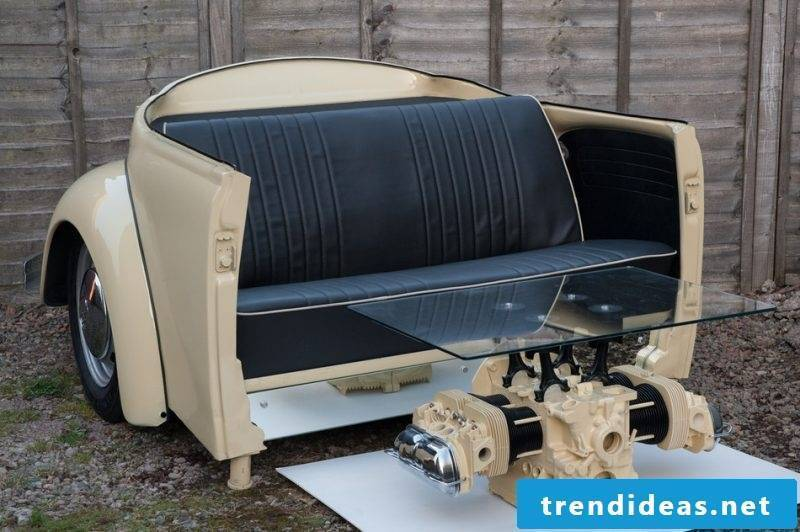 Sofa and table made of car parts!