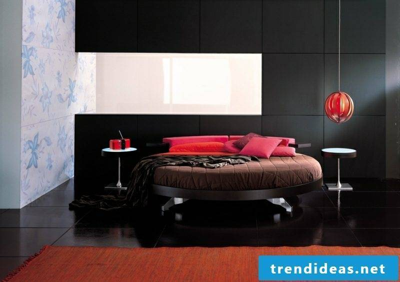 round bed upholstered accents in red