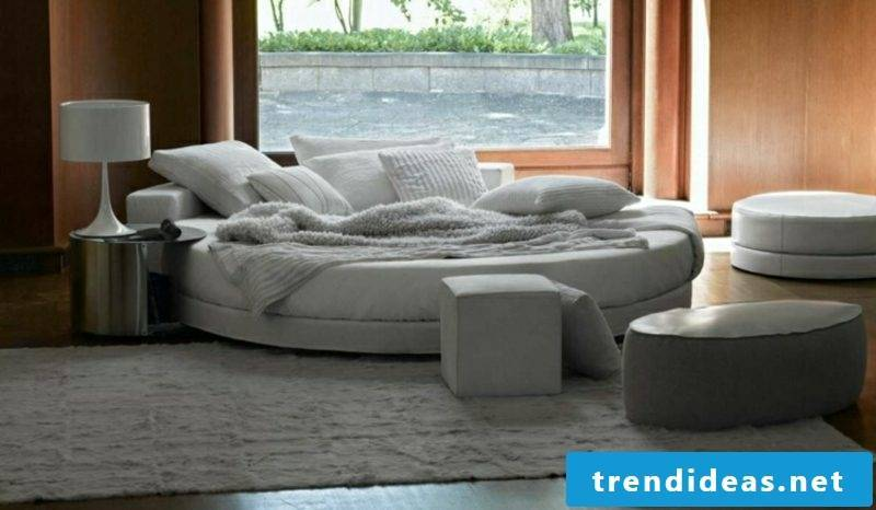 lovely round bed in gray