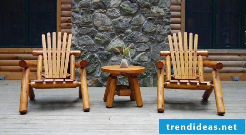 rustic garden furniture design wood chair table ideas garden decoration