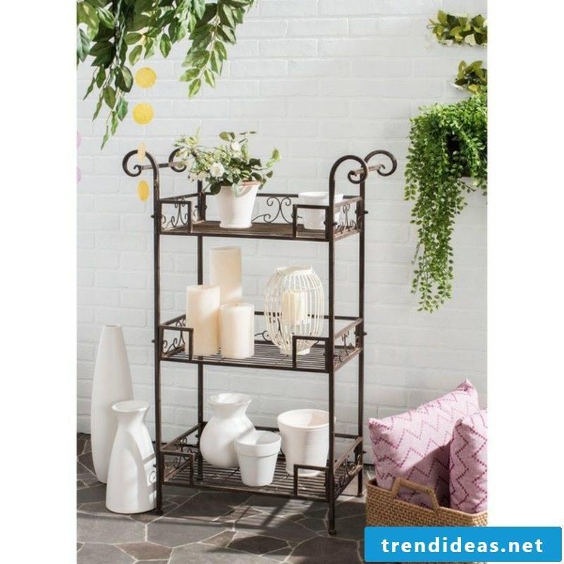 rustic garden furniture iron shelf brown garden set up