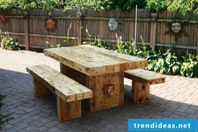 rustic garden furniture wood table chair garden set up ideas