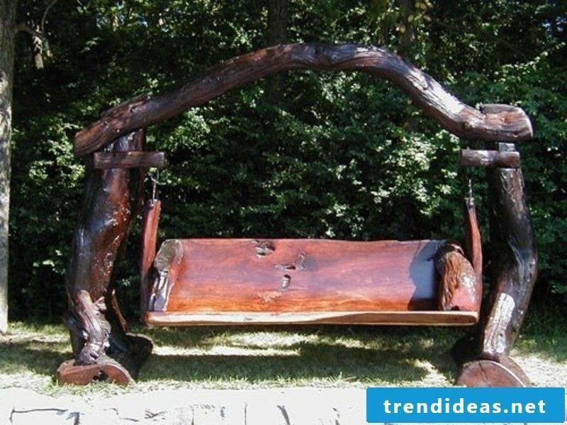 rustic garden furniture swing wood garden set up ideas