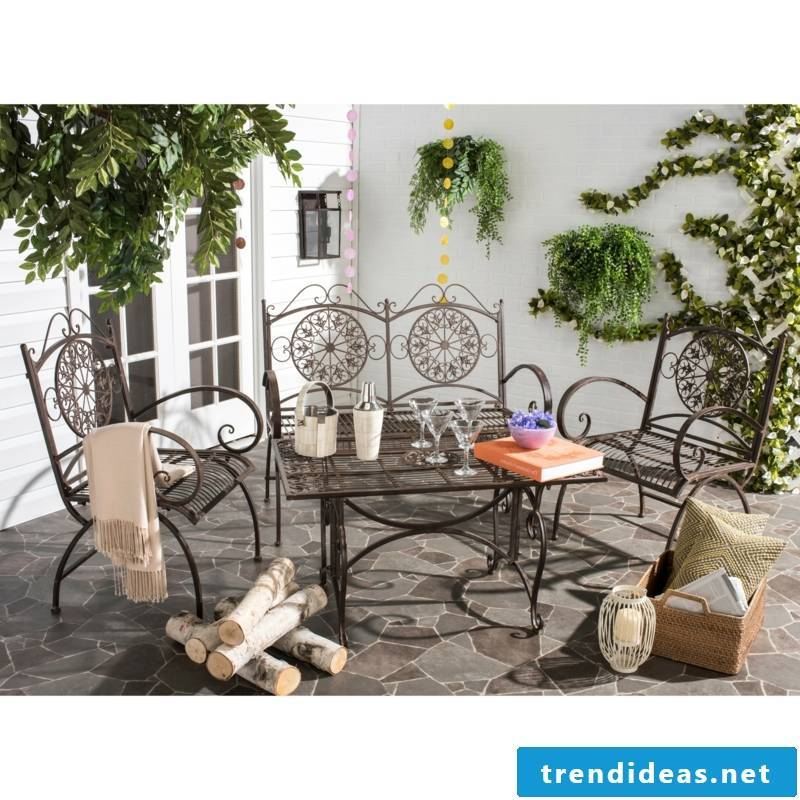 High quality rustic garden furniture sofa set collection table chair iron gardening ideas