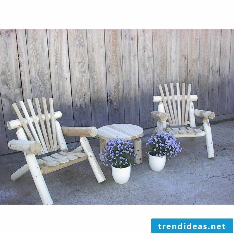 rustic garden furniture wood white chair table gardening ideas