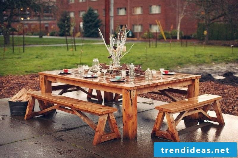 wooden garden furniture rustic table seating bench garden setting ideas
