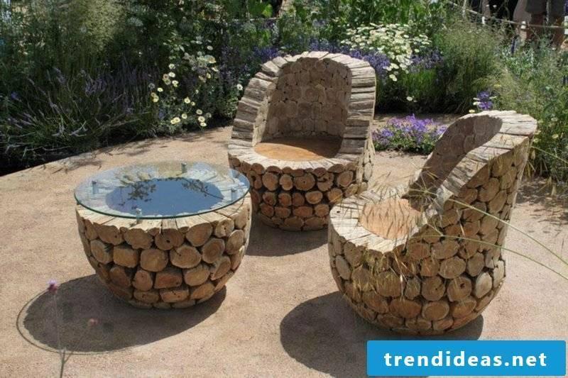 rustic outdoor furniture unique design table chair gardening ideas