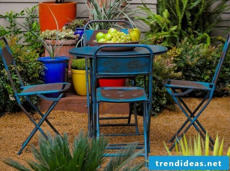 rustic metal garden furniture blue table chair living room garden