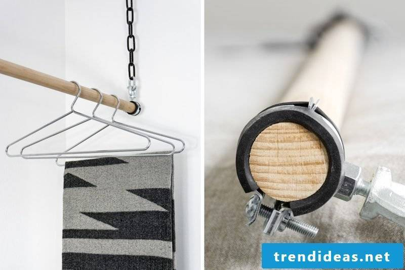 Elegant combination between wood and metal for your clothes rail for wall