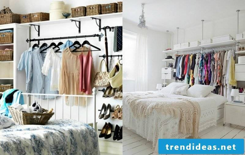 Clothes rail for the wall behind the bed offers more space