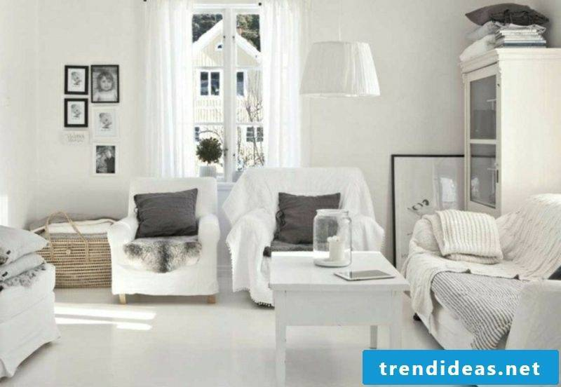 Scandinavian furniture Living room in white gray accents