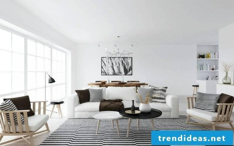 Scandinavian furniture living room original carpet stripes soft pillow neutral color scheme
