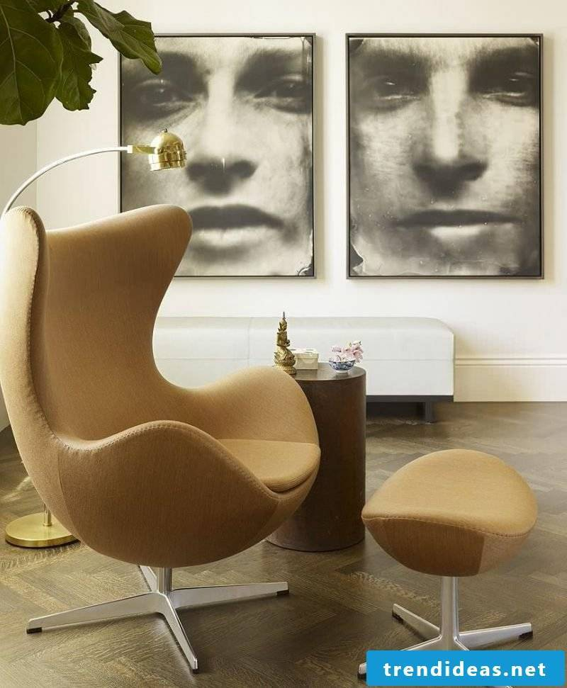 Scandinavian furniture comfortable armchair in beige extravagant photos on the wall