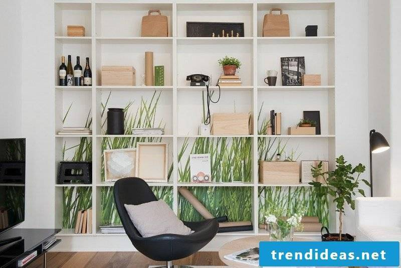 Scandinavian furniture interesting shelving system as an accent in the interior