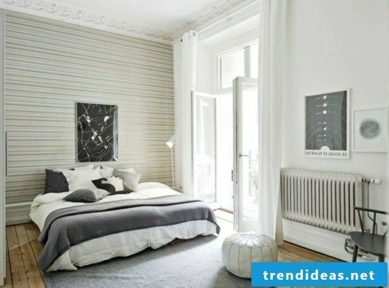 Scandinavian furniture bedroom in white and gray