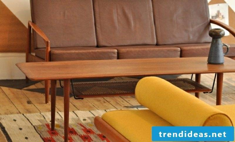 Scandinavian furniture comfortable sofa brown leather upholstery coffee table in solid wood