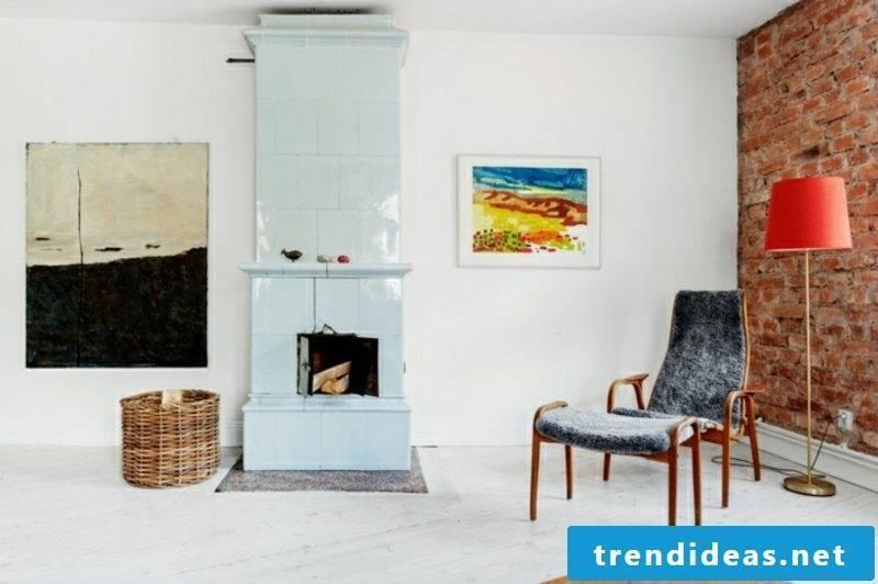 Scandinavian furniture original Armsesssel fireplace colored Bils as an accent