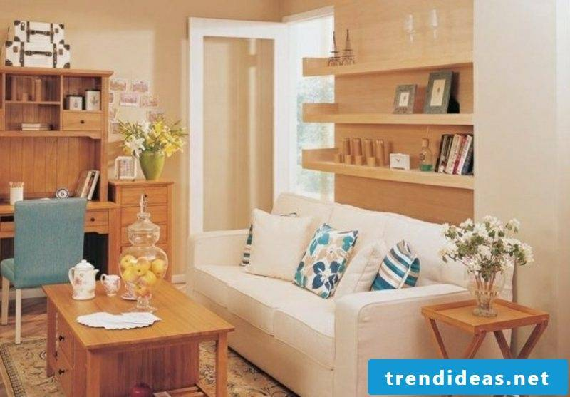 Scandinavian furniture white upholstered sofa open wooden shelving system