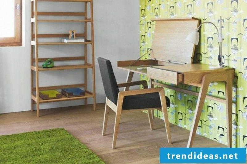 Scandinavian furniture study green accents