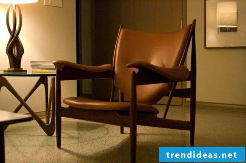 Scandinavian furniture comfortable armchair with leather upholstery