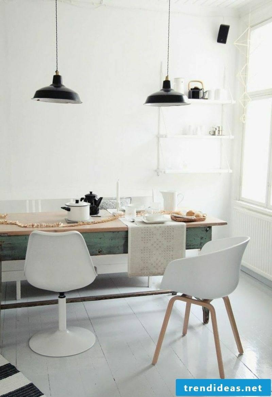 Scandinavian living rustic dining table wood shabby
