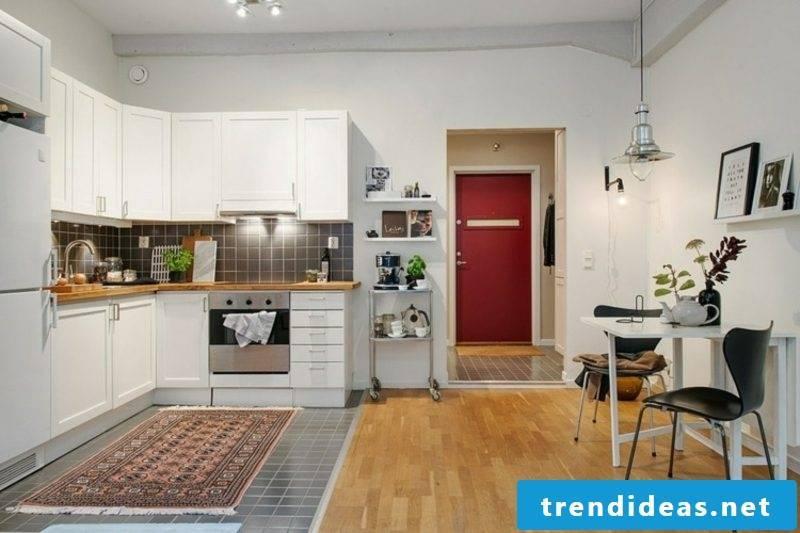 Scandinavian living kitchen laminate drawers