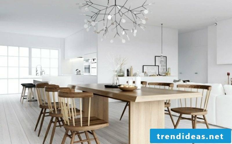 Scandinavian living dining table wood lamp tree imitation