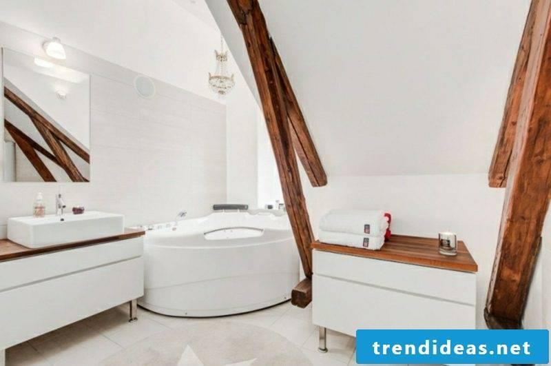 scandinavian dwelling penthousewohnung bathroom holzbalken
