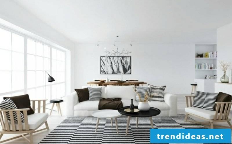 Scandinavian living carpet stripes wood