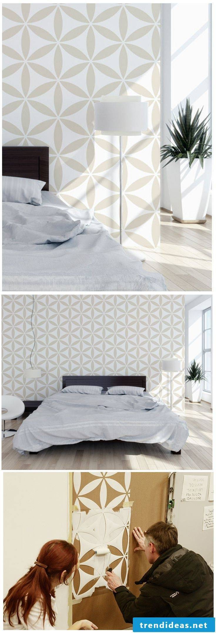 Geometric shapes as a wall design in the bedroom