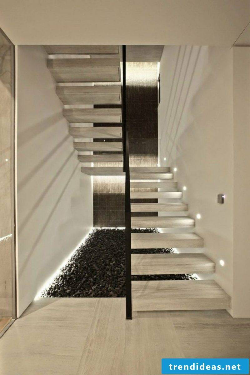 free-hanging staircase with indirect LED lighting