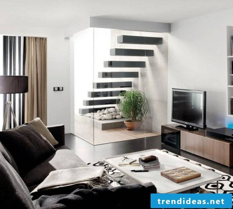 Living room design free-hanging stairs