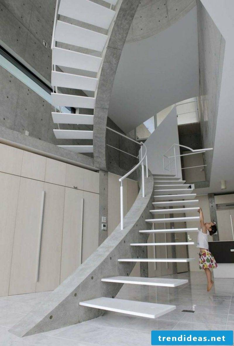 white stair cantilevered construction
