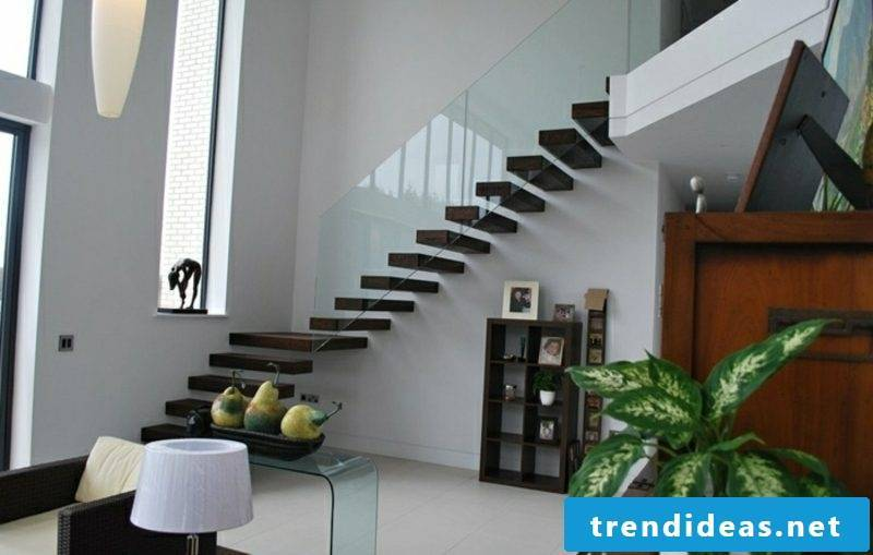 modern self-supporting staircase wood