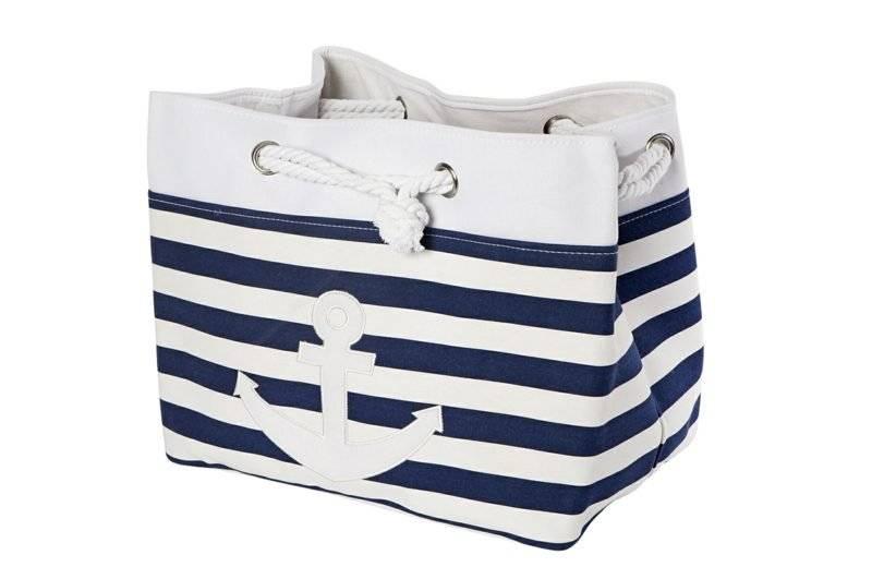 Beach bag sew striped white and navy blue anchor