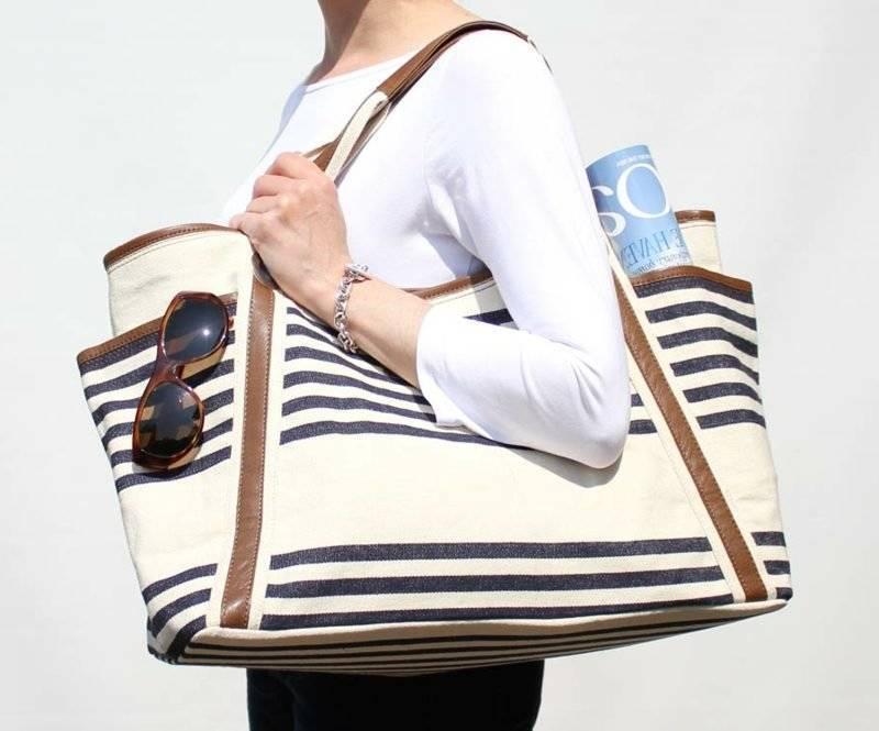 Beach bag sewing huge variant striped