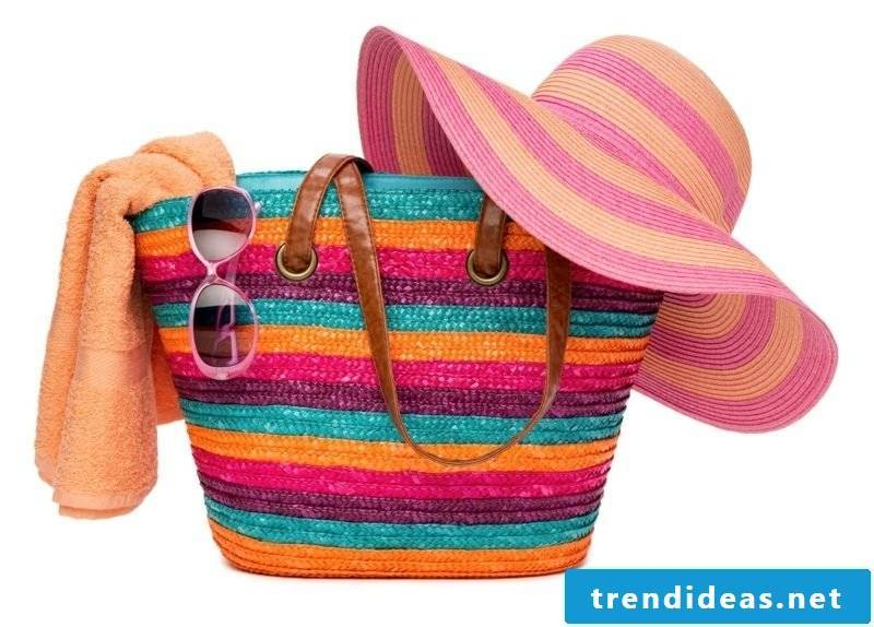 Beach bag sew gorgeous model striped colored