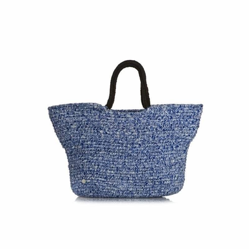 Beach bag sew elegant variant of fabric in blue